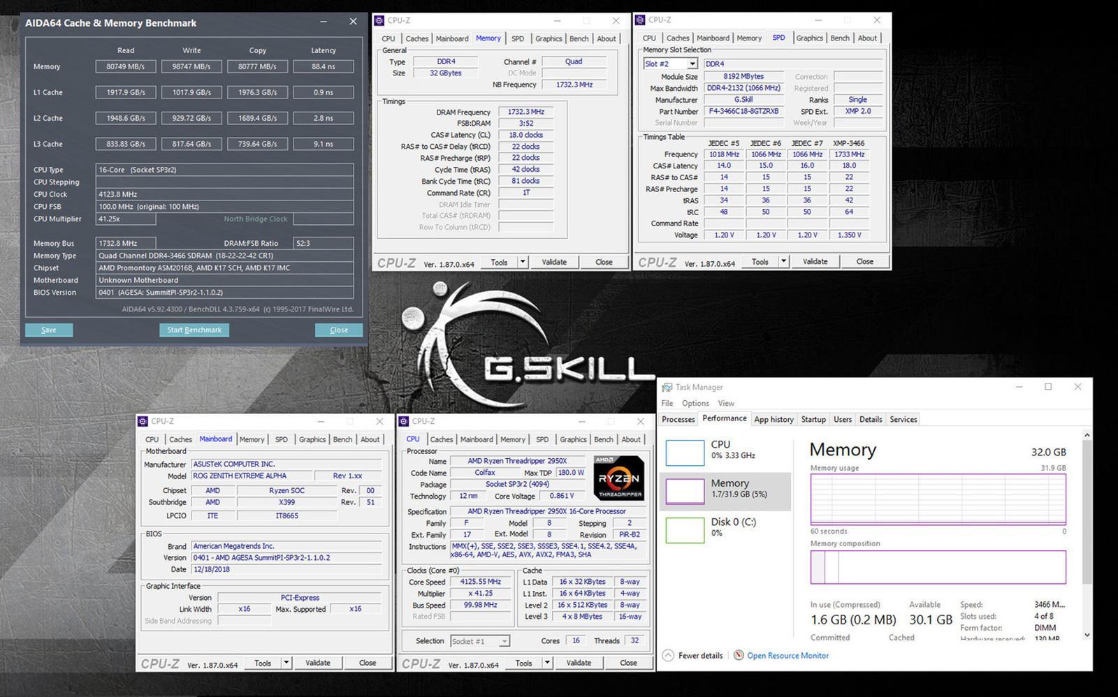 G.Skill выпускает X399-оптимизированные комплекты памяти Trident-Z RGB DDR4-3466