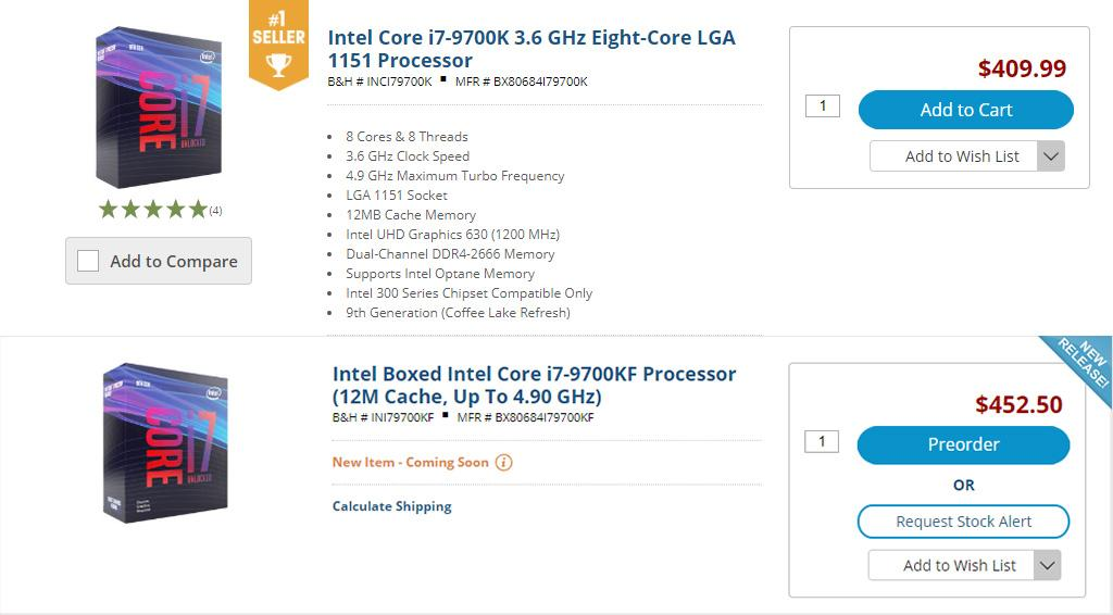 Процессоры Intel Core i9-9900KF и i7-9700KF замечены в продаже