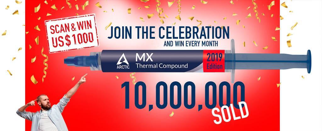 Arctic продала 10 миллионов тюбиков термопасты MX2 и MX4, и даёт шанс выиграть $1000