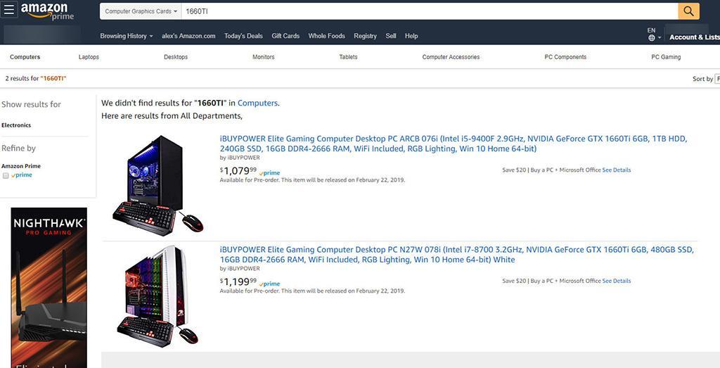 На Amazon замечены компьютеры с видеокартами GeForce GTX 1660 Ti