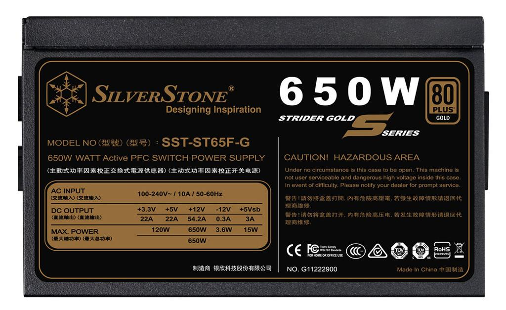 SilverStone выпускает серию блоков питания Strider Gold S
