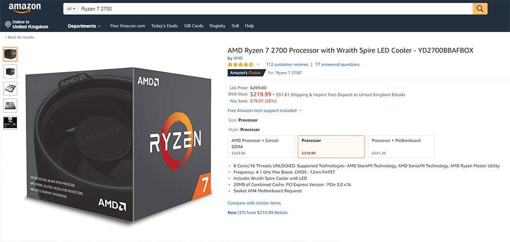 AMD Ryzen 7 2700 можно купить за 0