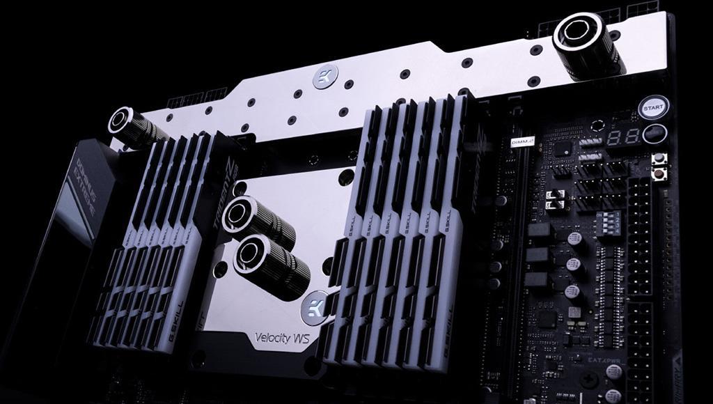 EKWB выпустила водоблоки для процессоров Intel Xeon W-3175X и VRM-узла платы ASUS ROG Dominus Extreme