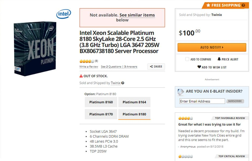 Аналог Xeon W-3175X продавался на Newegg за $100