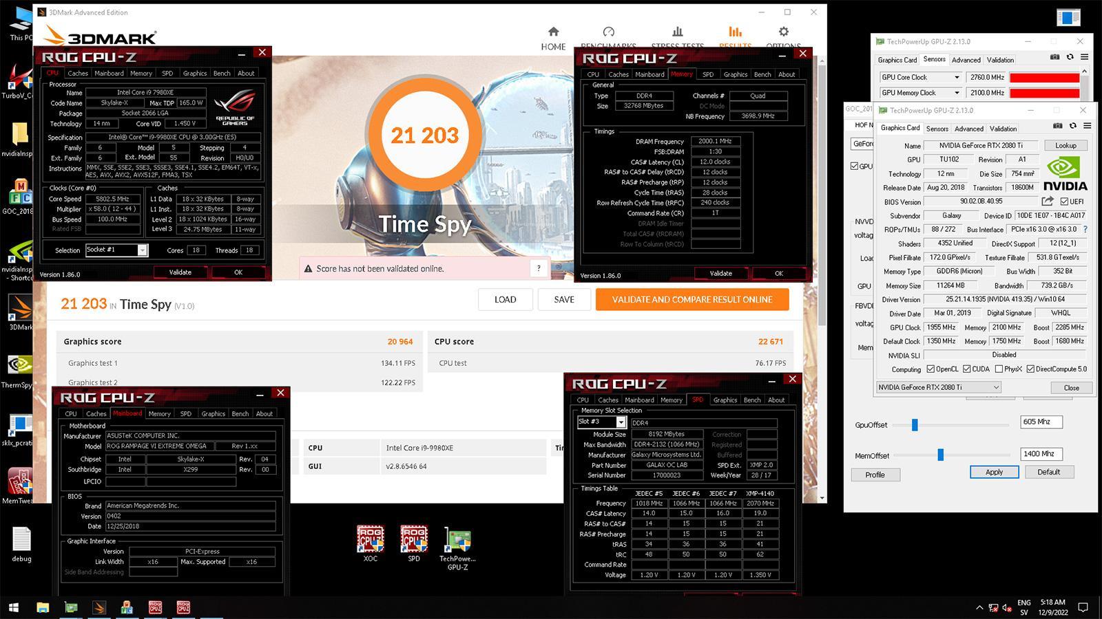 Разогнанная до 2,7 ГГц по ядру GeForce RTX 2080 Ti обновила рекорд 3DMark Time Spy
