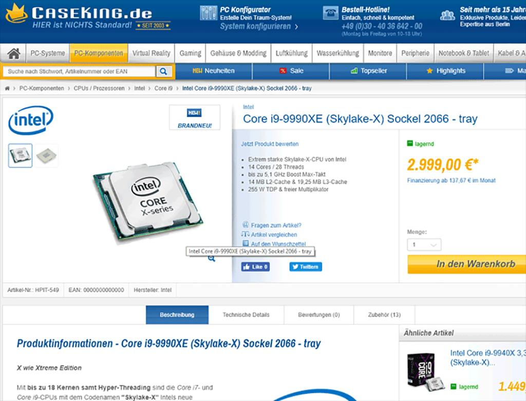 """В розничную продажу попал """"только аукционный"""" Intel Core i9-9990XE"""