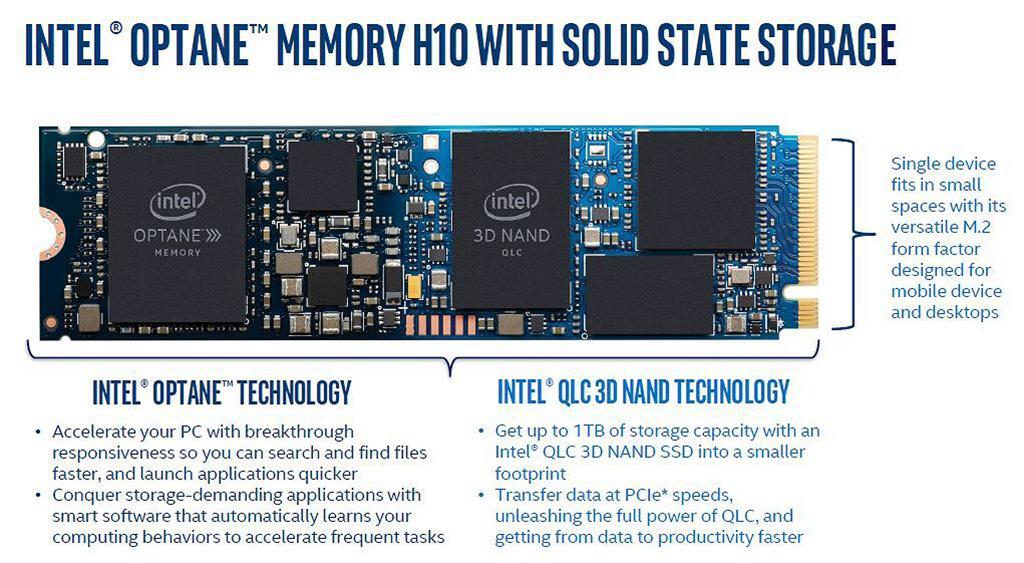 Intel официально представила гибридные накопители Optane Memory H10