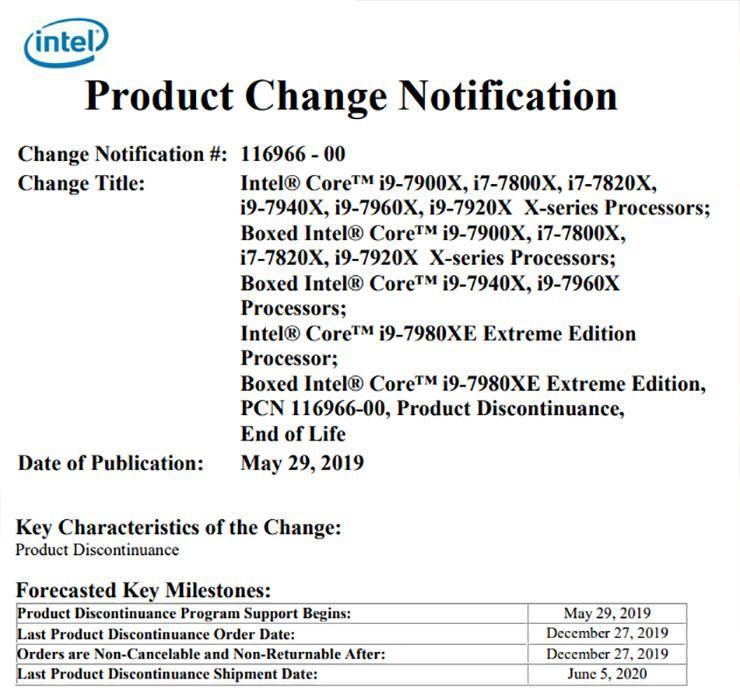 Процессоры Intel Skylake-X уходят на покой