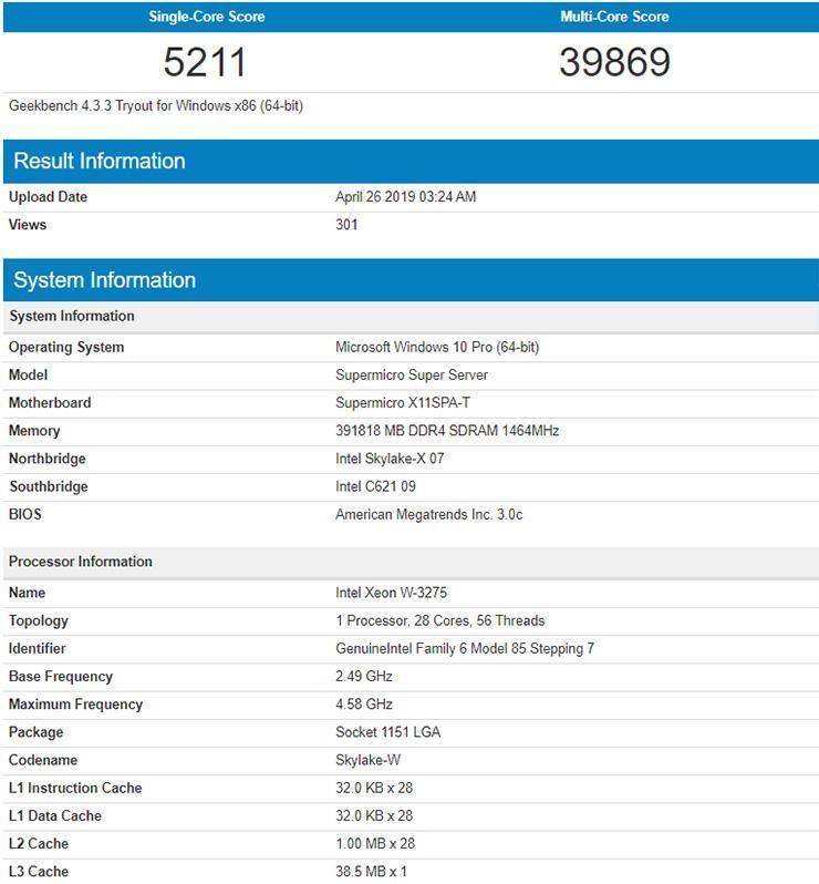 28-ядерный Intel Xeon W-3275 наследил в GeekBench