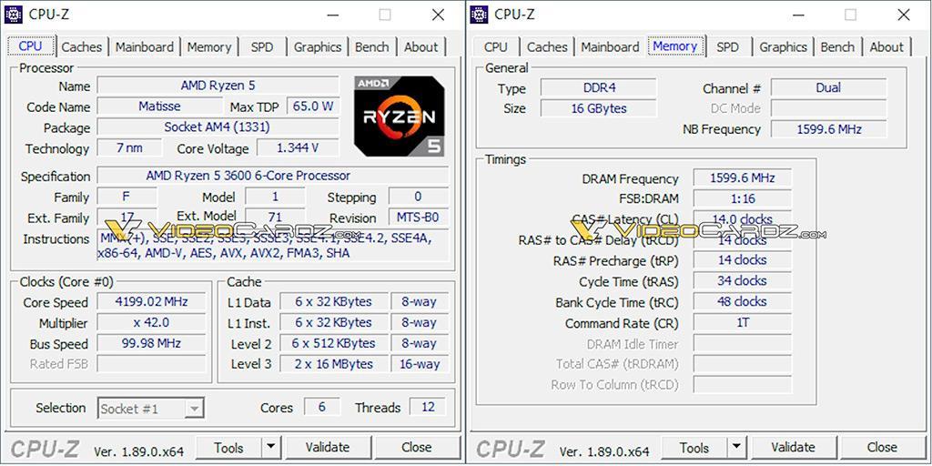 AMD Ryzen 5 3600 и тесты в CineBench и CPU-Z