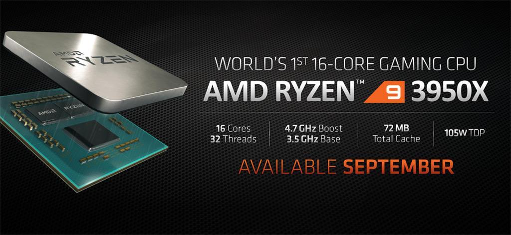AMD Ryzen 9 3950X: 16 ядер, продажи в сентябре, и ценник в $750