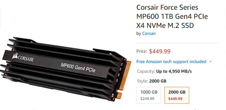 Corsair MP600 на базе PCI-Express 4.0 появились на Amazon