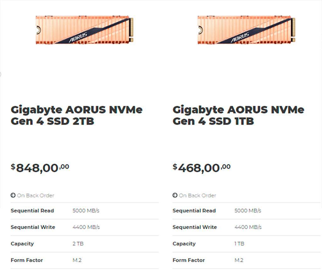 Стали известны цены накопителей Gigabyte Aorus PCIe 4
