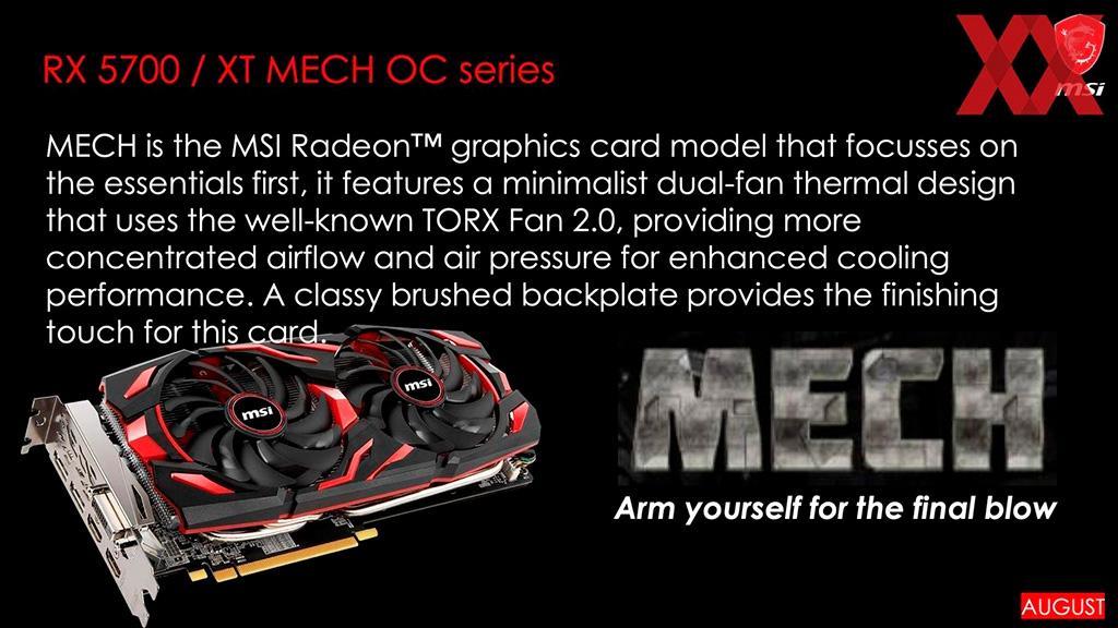 MSI готовит 7 видеокарт Radeon RX 5700 (XT) в нереференсном исполнении