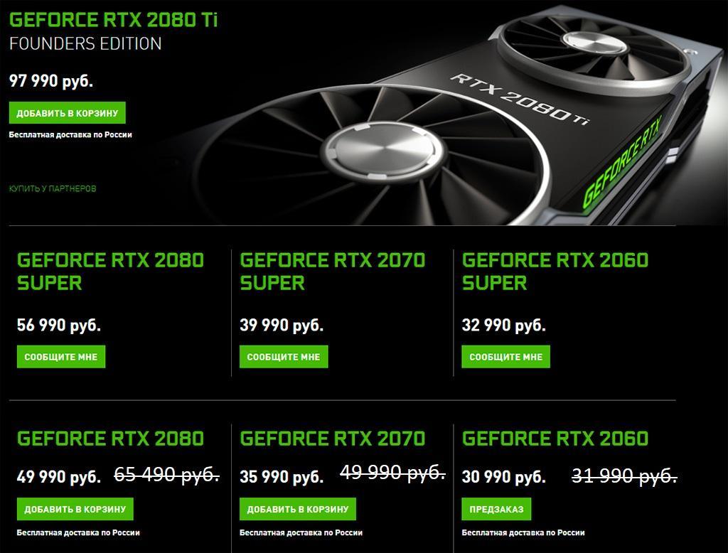 NVIDIA снизила рекомендованные цены оригинальных видеокарт GeForce RTX