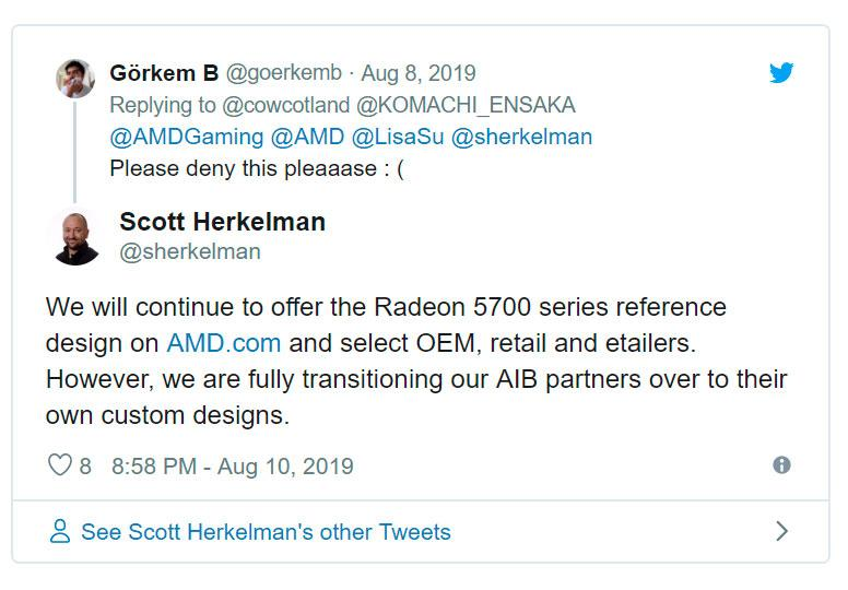 AMD: референсы Radeon RX 5700 (XT) будут производиться и дальше