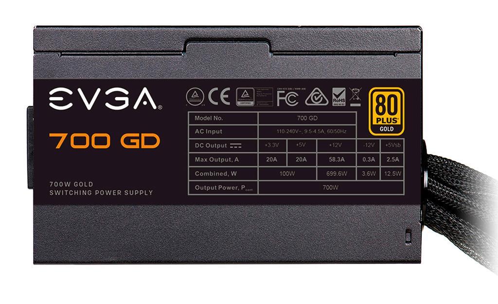 EVGA предлагает «голдовые» блоки питания серии GD