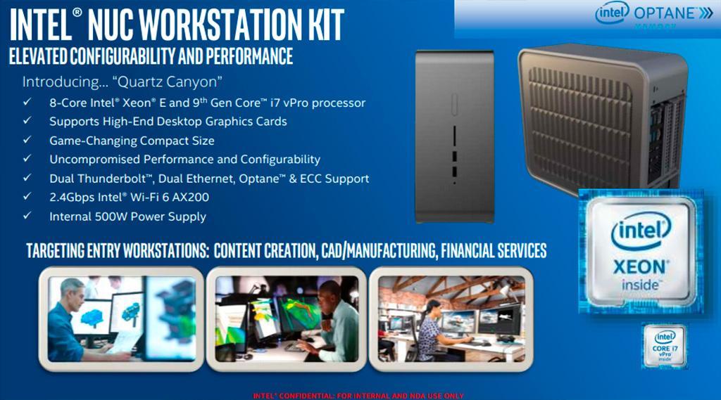 Intel NUC Quartz Canyon – первые мини-ПК с возможностью установки полноценной видеокарты