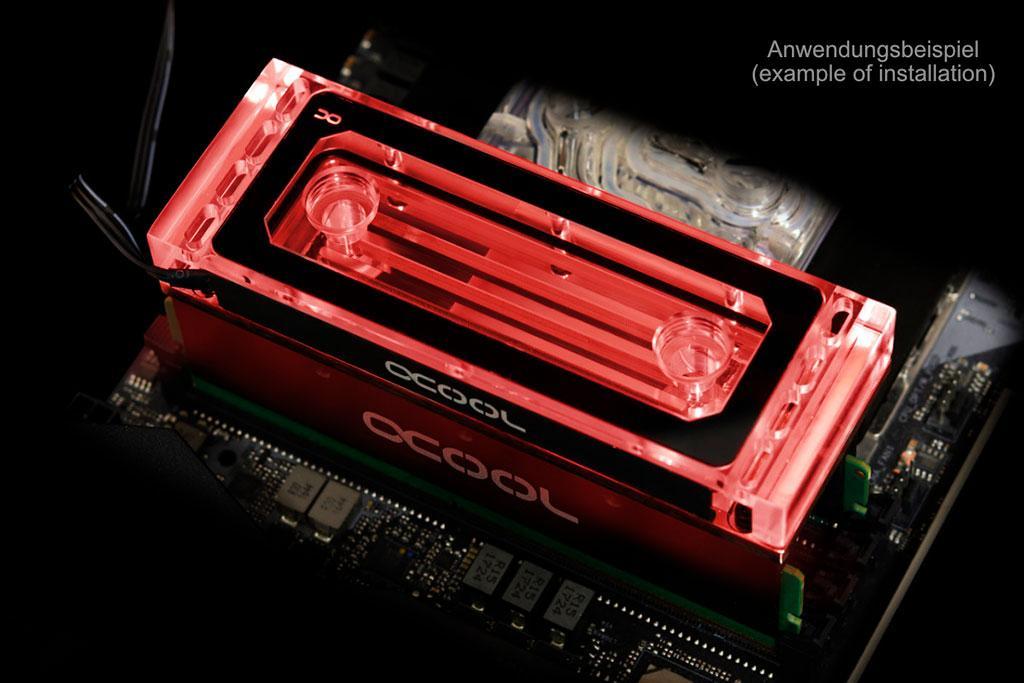 Alphacool предлагает водоблок Aurora Plexi X4 D-RAM для оперативной памяти