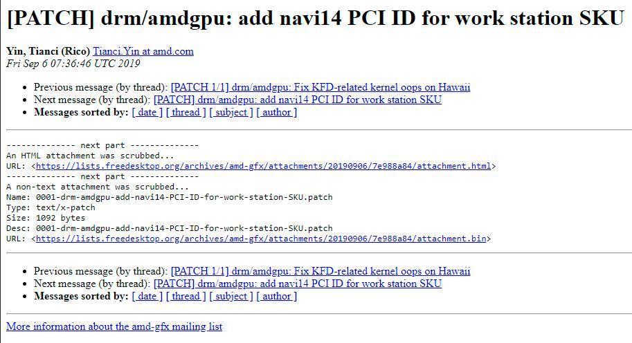 Графический процессор AMD Navi 14 прописался в драйверах для Linux