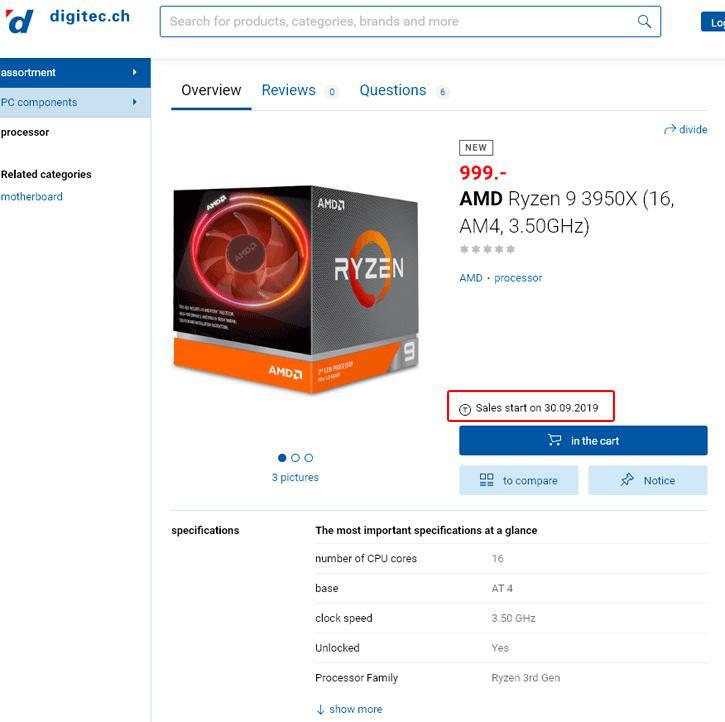 16-ядерный AMD Ryzen 9 3950X выйдет 30 сентября