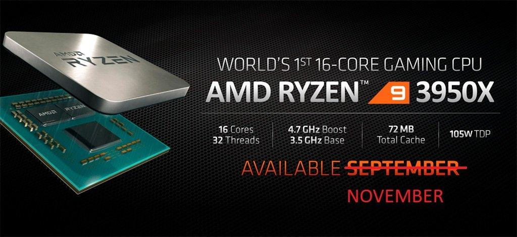 AMD: Ryzen 9 3950X и часть Ryzen Threadripper 3000 будут в ноябре