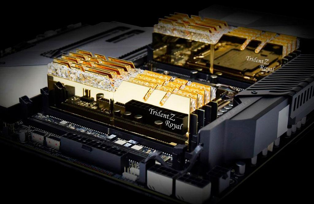 G.Skill предлагает четырёхканальные «киты» памяти Trident Z Royal DDR4-4000 и DDR4-4300