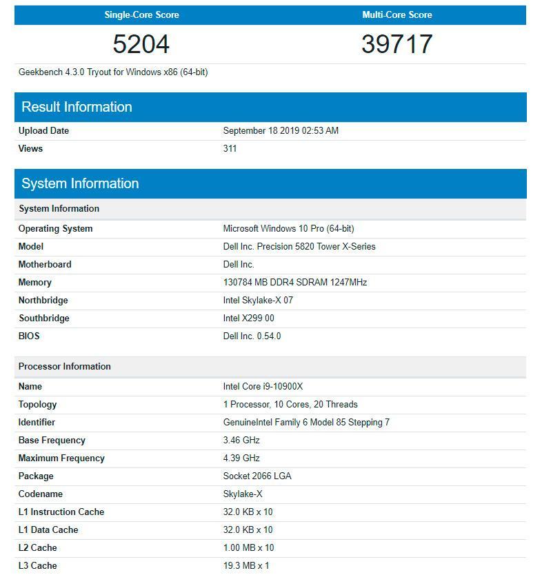 В GeekBench наследил Intel Core i9-10900X
