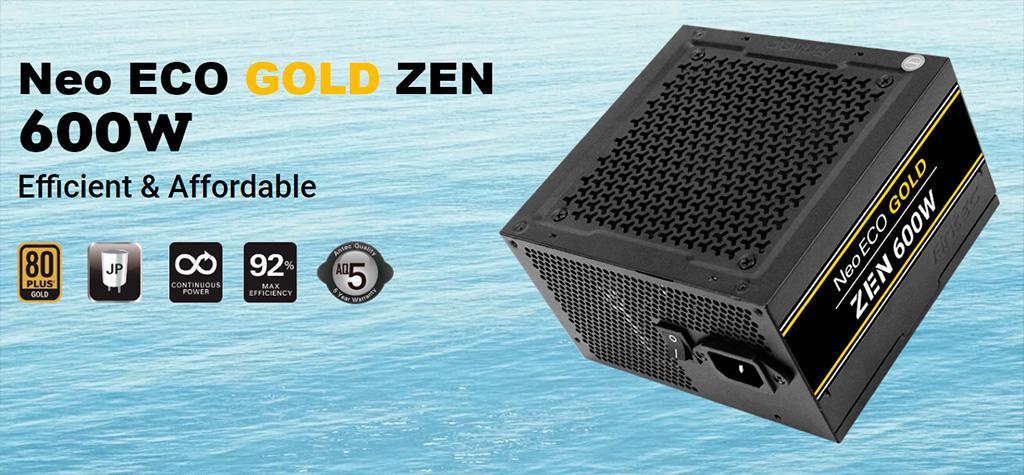 Серия блоков питания Antec NeoECO Zen получила «голдовый» сертификат энергоэффективности