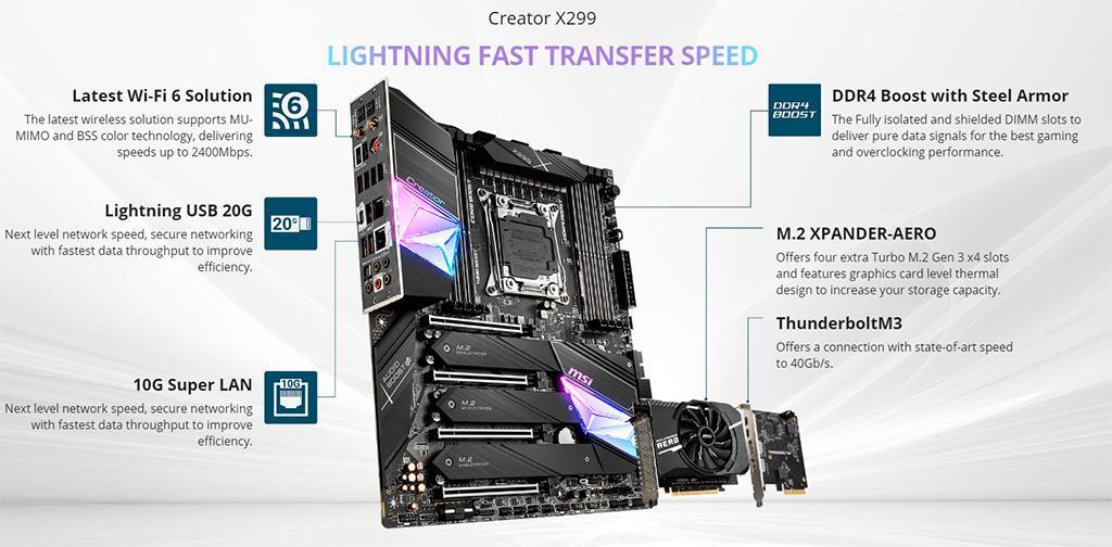 MSI Creator X299, X299 Pro и X299 Pro 10G – троица новых плат для процессоров Intel Cascade Lake-X