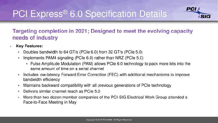 Финальные спецификации PCI-Express 6.0 будут готовы к 2021 году