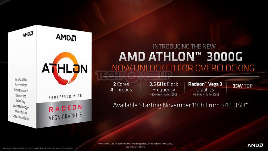 Представлены APU Athlon 3000G за  и самый «ядерный» процессор для платформы AM4 – Ryzen 9 3950X