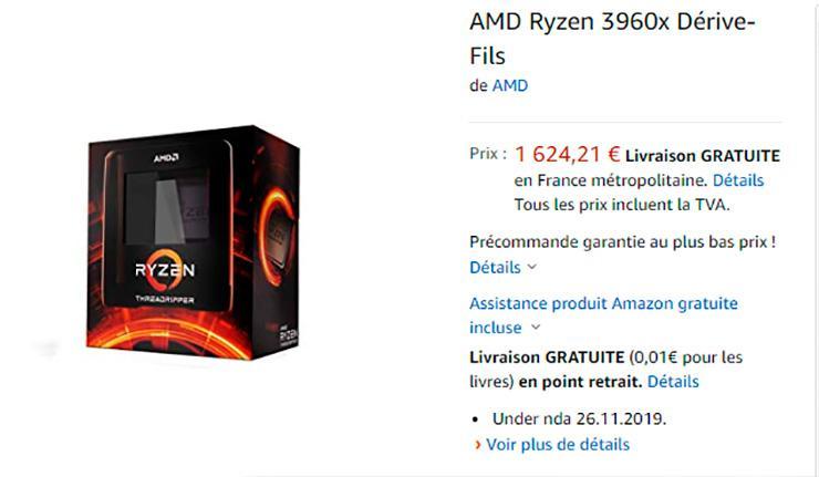 В Европе AMD Ryzen Threadripper 3960X и 3970X доступны для предзаказа. Ценники стартуют с 1600 евро