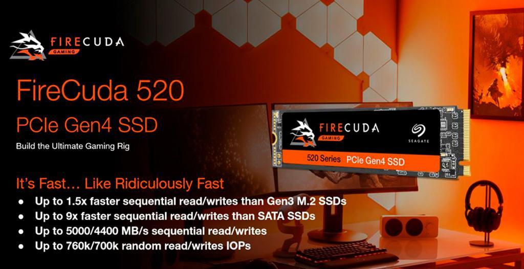 Накопители Seagate FireCuda 520 получили интерфейс PCI-Express 4.0