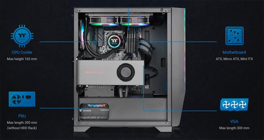 Корпус Thermaltake H550 TG ARGB получил 2-мм фронтальную панель из алюминия