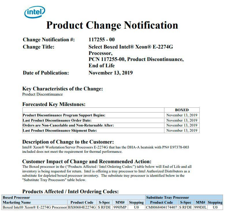 Intel срочно отзывает BOX-версии процессоров Xeon E-2274G по интересной причине