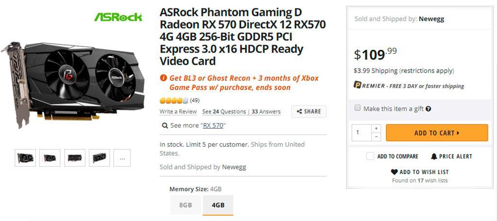 Radeon RX 570 c 4 ГБ видеопамяти можно приобрести за $110