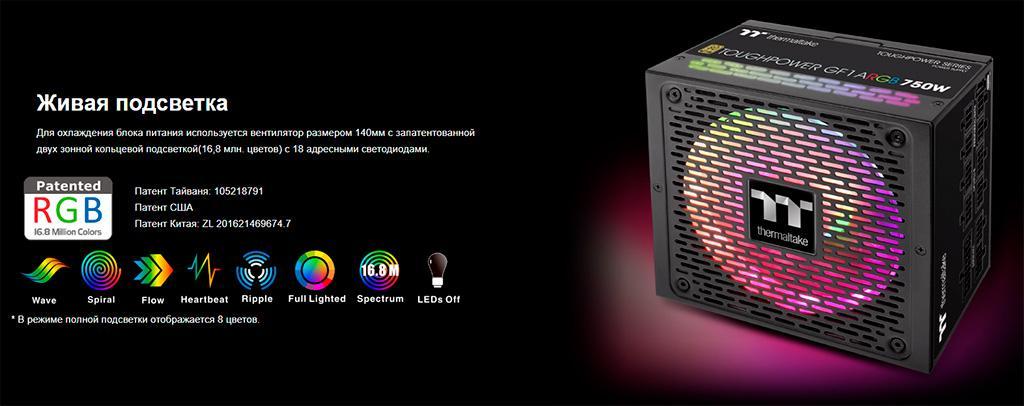 Thermaltake Toughpower GF1 ARGB 750 Вт: обзор. Всё при нём, да нарядный какой