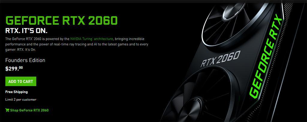 Рекомендованный ценник NVIDIA GeForce RTX 2060 просел