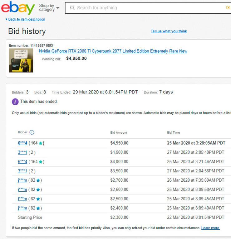 Экземпляр NVIDIA GeForce RTX 2080 Ti Cyberpunk 2077 Edition продался на eBay за почти $5000, но есть более и доступные