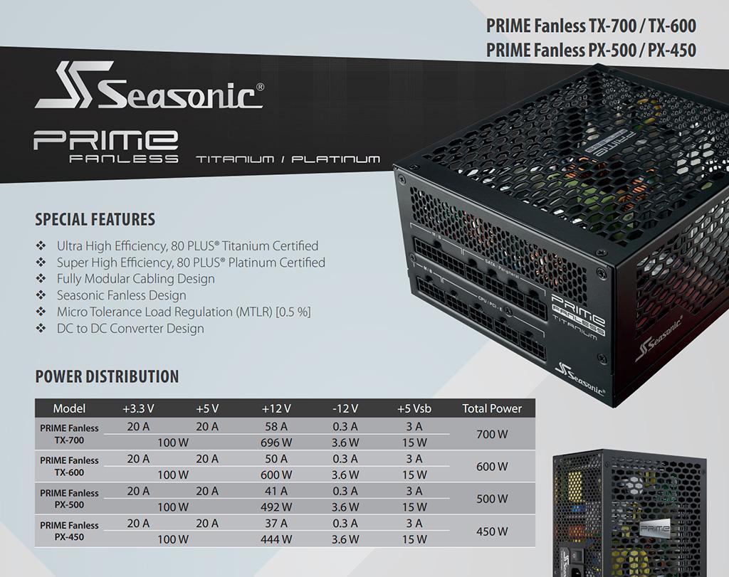 SeaSonic выпускает три безвентиляторных блока питания серии Prime Fanless