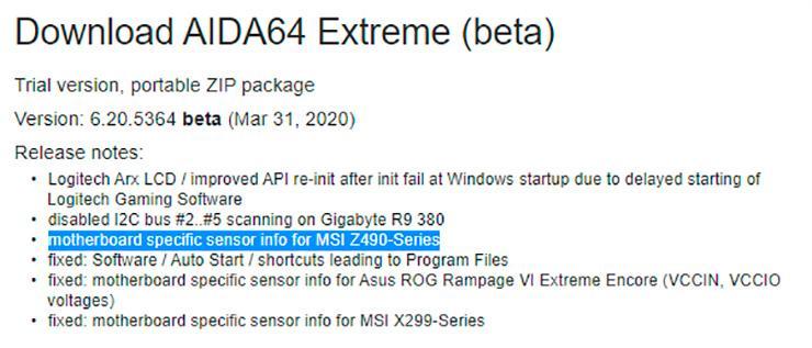 Утилита AIDA64 готовится к релизу материнских плат на чипсете Intel Z490