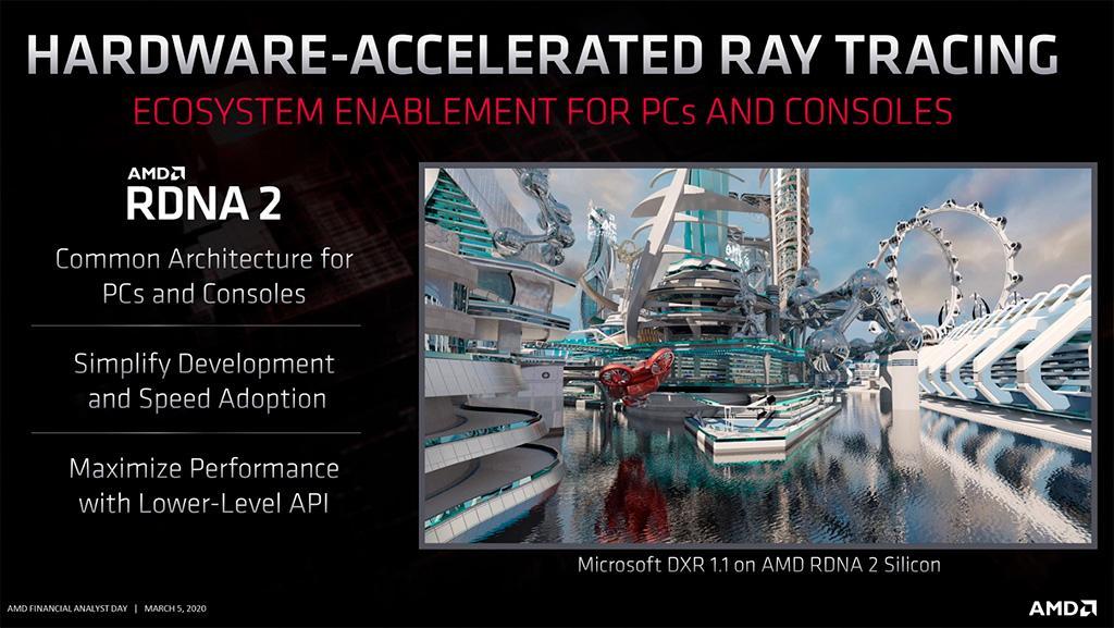 Слух: только видеокарты на GPU AMD Navi 21 получат поддержку трассировки лучей