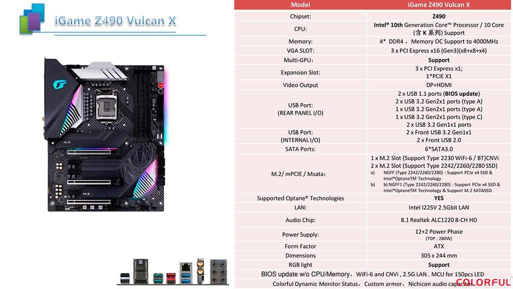 Изучаем спецификации материнских плат Colorful iGame Z490 Vulcan X и CVN Z490 Gaming Pro V20