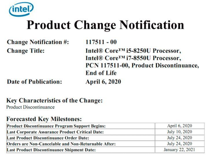 Чистка продолжается: Intel скоро снимает с производства мобильные Kaby Lake Refresh