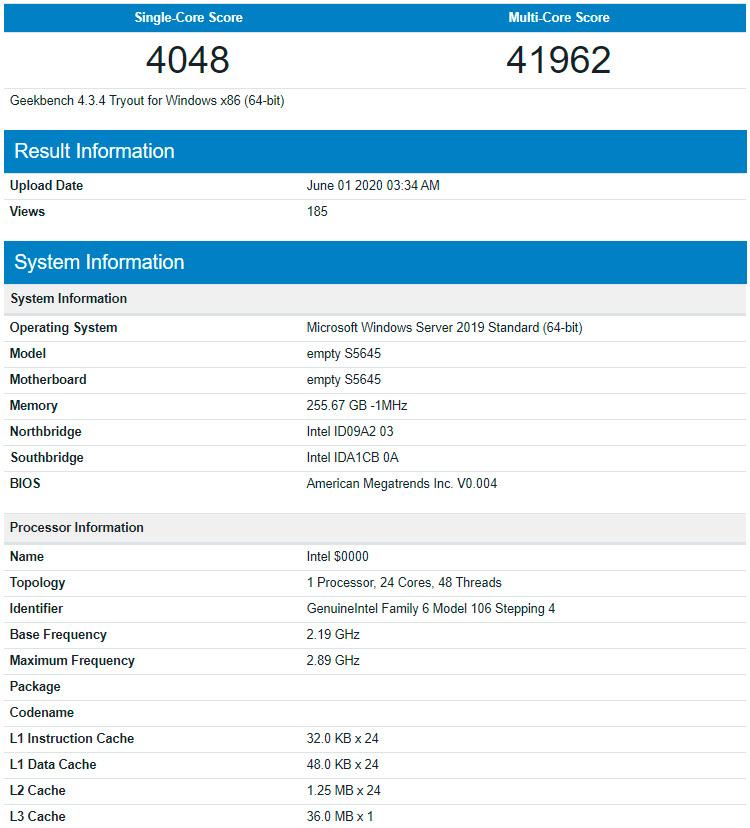 Серверный 24-ядерник Intel Ice Lake-SP наследил дважды