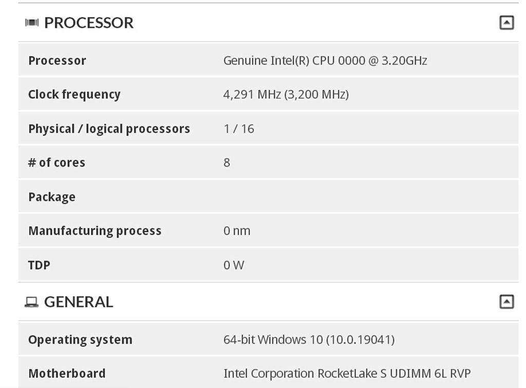 Результаты тестов 8-ядерного/16-поточного чипа Intel Rocket Lake в 3DMark