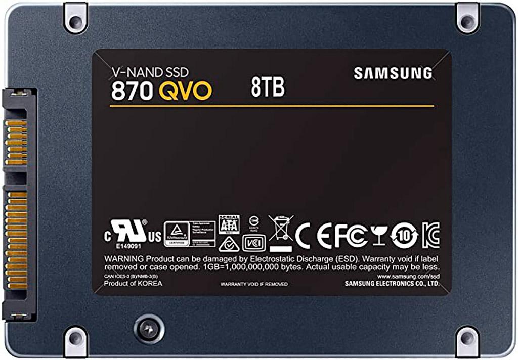 Серию накопителей Samsung 870 QVO возглавит модель на 8 ТБ