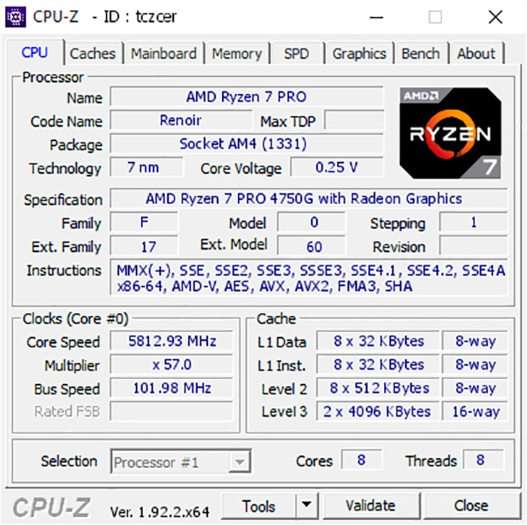 AMD Ryzen 7 Pro 4750G и жидкий азот: 5812,3 МГц частоты x86-ядер и память в режиме DDR4-6234