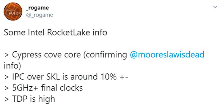 Слух: процессоры Intel Rocket Lake-S будут на архитектуре Cypress Cove, а она быстрее Skylake на 10%